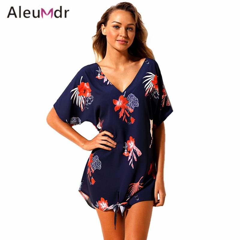 Aleumdr летнее пляжное платье 2018 принт Купальники для малышек Cover Up кафтан Для женщин Пляжная Плавание одежда Сокрытия lc42259 созидаясь de Praia