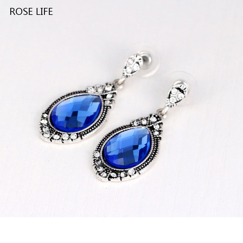 ROSE LIFE WomenS Fashion Earrings High-End Atmosphere Inlaid Blue Crystal Earrings Jewlery Costume Female Jewelery Earrings