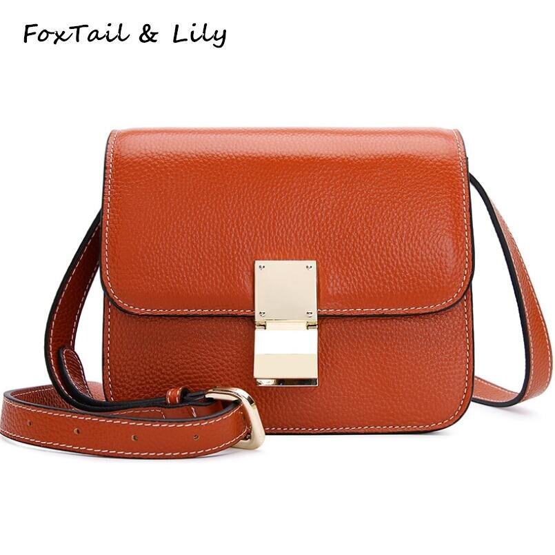 купить FoxTail & Lily Ladies Shoulder Handbags Genuine Cow Leather Mini Crossbody Messenger Bags Famous Brand Designer Small Flap Bag по цене 2839.58 рублей