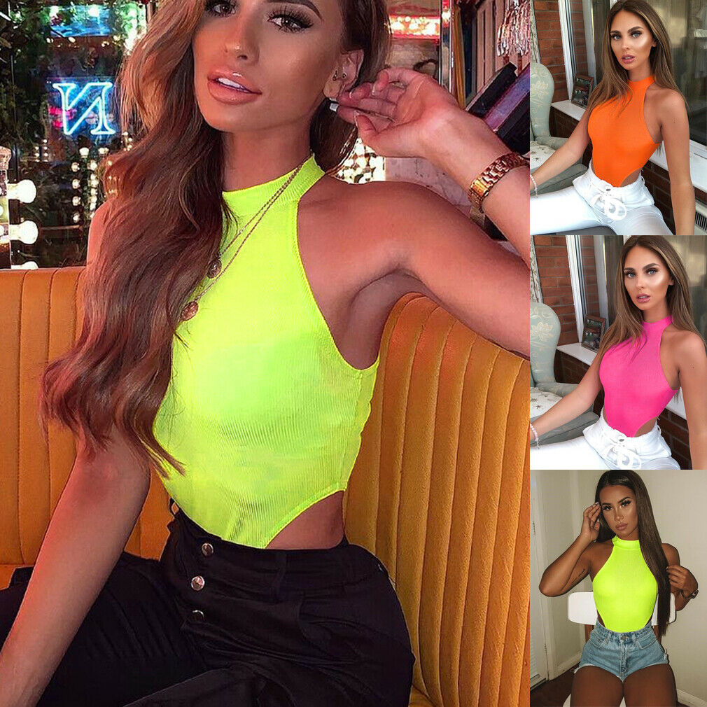 Hip Fluorescent Women High Neck Stretch Sleeveless High Cut Romper Tank Sexy Bodysuit Club Party Jumpsuit