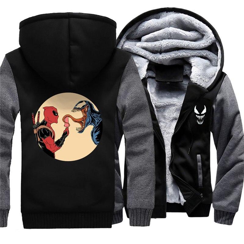 Для мужчин молнии с капюшоном Толстовка Веном зимние теплые Свитшот флисовый утепленный Повседневное чёрное худи пуловер 011 - 2