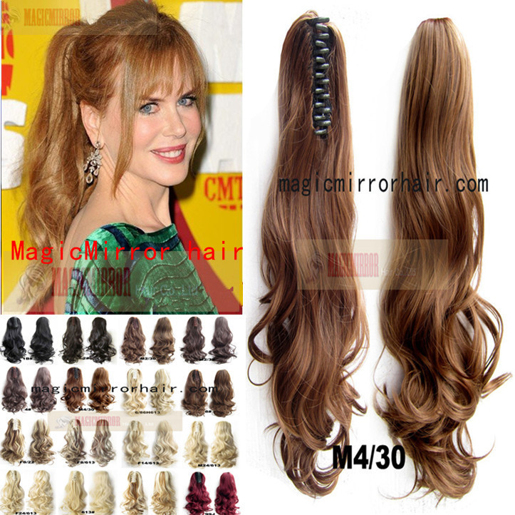 180g 55cm Dark Blonde Wavy Ponytail Extension Fashion Hairstyle High Quality Claw Clip Pony Tail