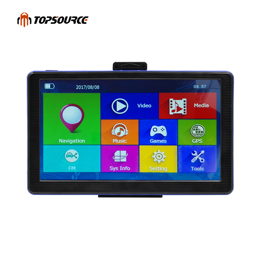 TOPSOURCE 7'' HD Car GPS Navigation Win CE6.0 FM 256MB / 8GB 800MHZ Map Navigator For Europe/USA+Canada Lifetime Map and Traffic