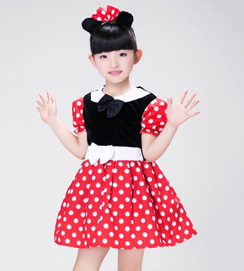 Costume Halloween Enfant Fille point blanc robe rouge + gants + bandeau Minie souris filles tenue ensemble robe d'anniversaire pour Fille enfants