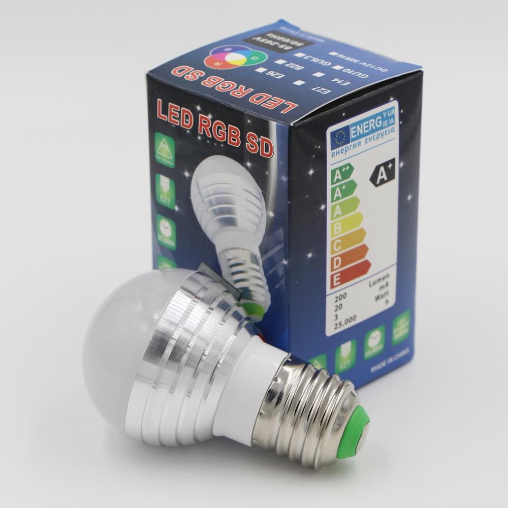 AC85V 265V 3W E27 E14 Color Change LED RGB Magic Light Dimmable Lampada Bulb Spot lamp lighting+     -> Lampada Spot Led