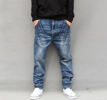 2016 Новых людей Хип-хоп Джинсы Свободные Гарем Мешковатые Конические Брюки Брюки Мода Стильные мужчин джинсы брюки
