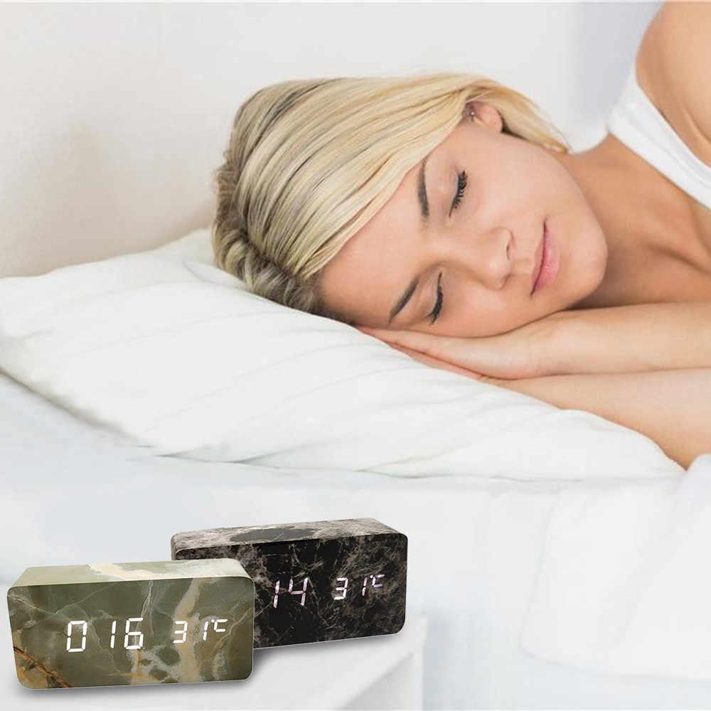 100% Бренд новый высокое качество голос управление календари термометр деревянный светодиодный цифровой будильник USB/AAA Прямая доставка