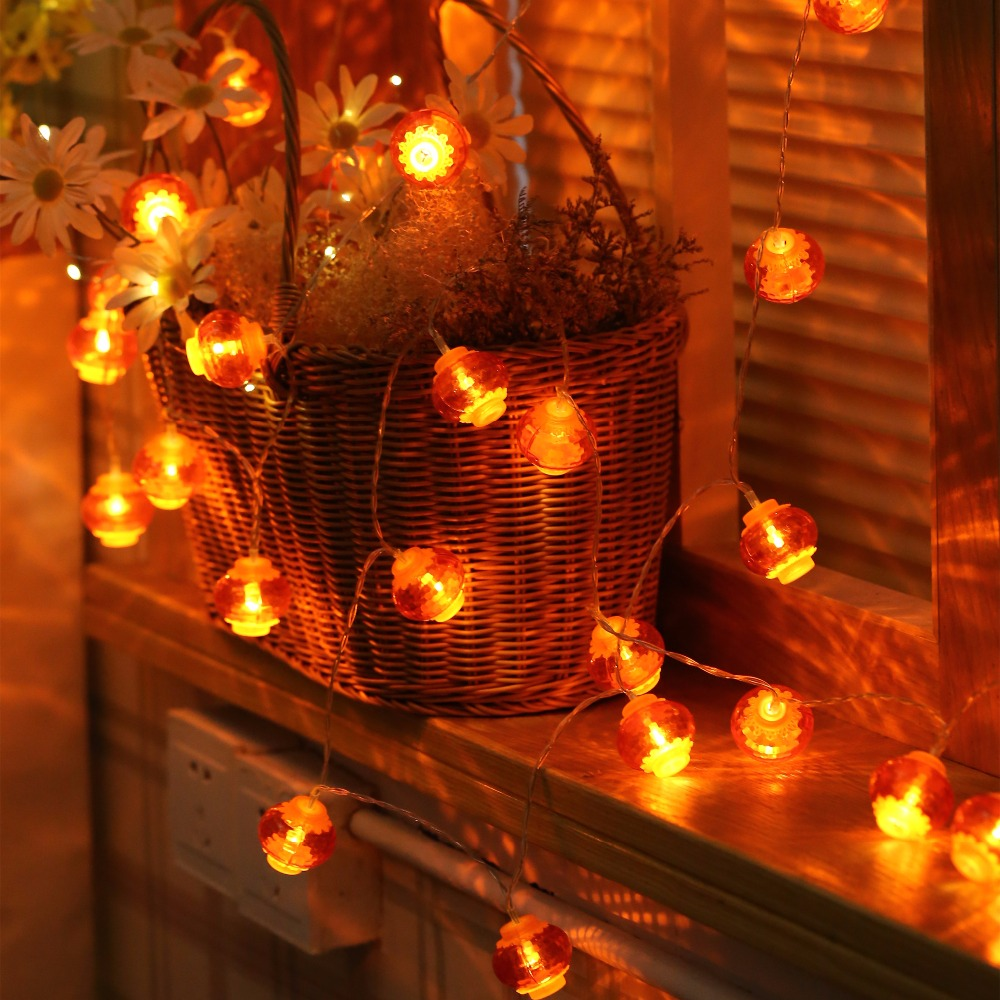 JUNJUE LED Chinese Red Lantern Flashing String Lights Outdoor Spring Festival Festive Light Home Decorative