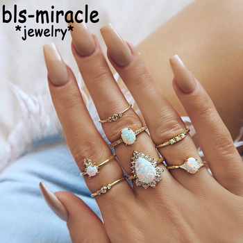 Bls-miracle New Design Vintage Opal Knuckle Ring Set For Women Boho Geometric Pattern Flower Rings Party Jewelry 7PCSSet RJA-27 Чокер