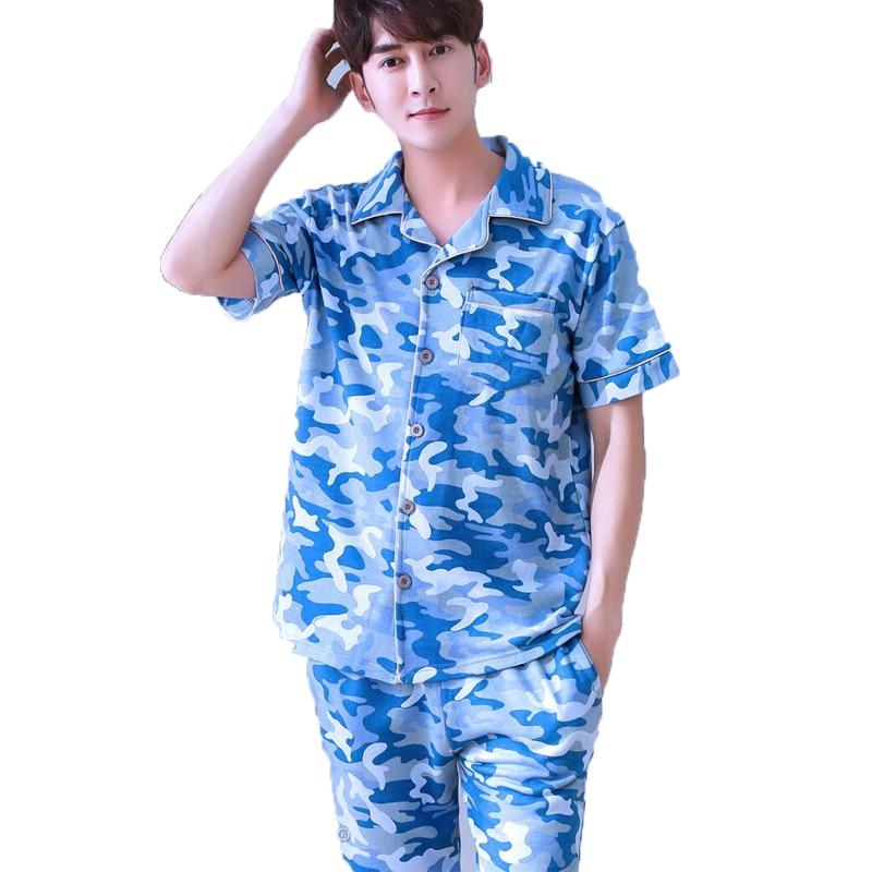 Mens Pajama Sets Twinset Cotton Turn-down Collar Pyjama Suits Casual Sleepwear Home Wear ...
