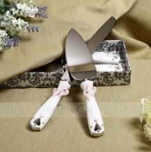 1 set Hollow 3D Heart design Cake Knife + shovel + gift box Serving Set Wedding Decoration Supplies