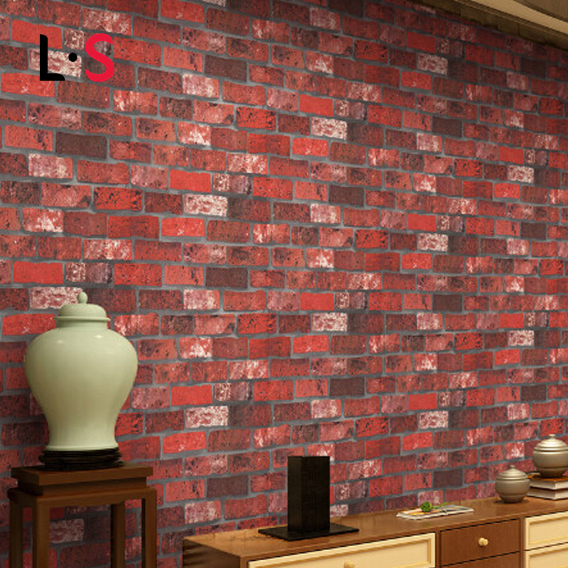 Vintage Modern 3D Effect Embossed Wallpaper Retro Brick