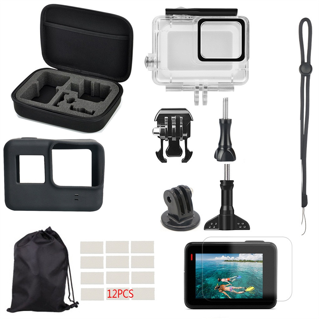 For Gopro Hero 7 White//Silver 40M Waterproof Case Lens Protection Housing Shell