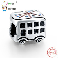 Aliexpress New 100 925 Sterling Silver 925 Charm Beads Fit Authentic Pandora Bracelet Clear Mini Bus