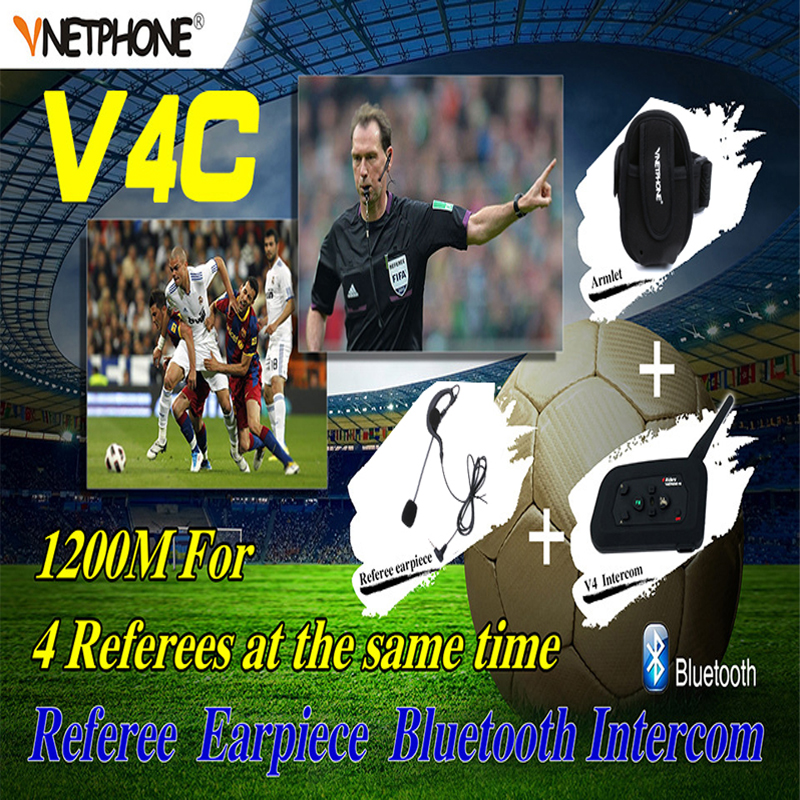Vnetphone V4C 2017 New Football Referee Earhook Earphone Bluetooth Intercom Headset 1200M Full Duplex Headphone with FM Radio