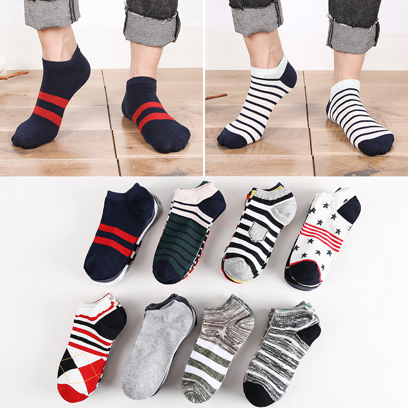 10 Pieces/ Lot Plus Size Sports Men's Sock Spring Summer Breathable Fitted Striped Patchwork Ankle Socks Gifts For Men Meias