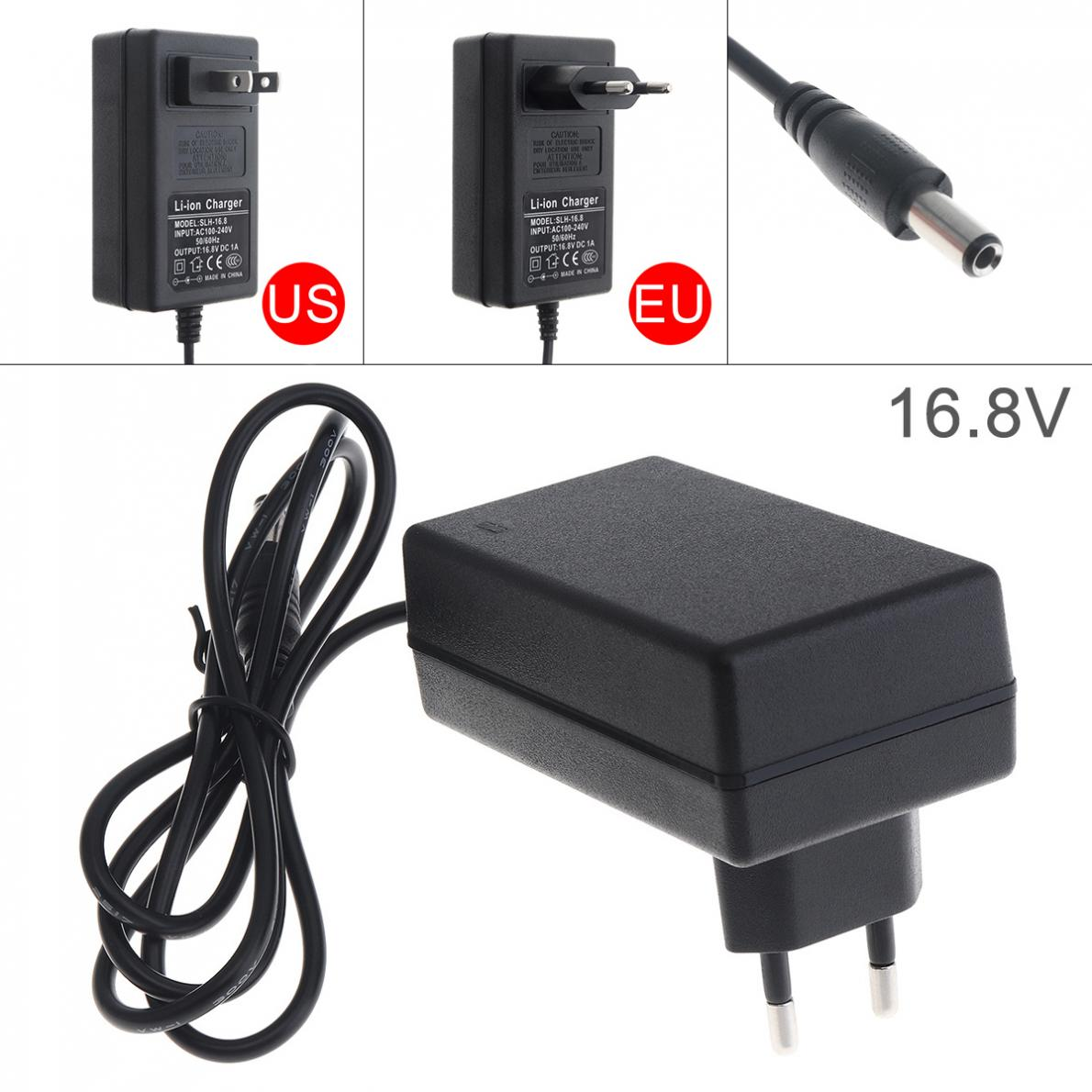 90cm  PVC 16.8V Power Adapter Charger With EU Plug And US Plug For Lithium Electric Drill / Electric Screwdriver
