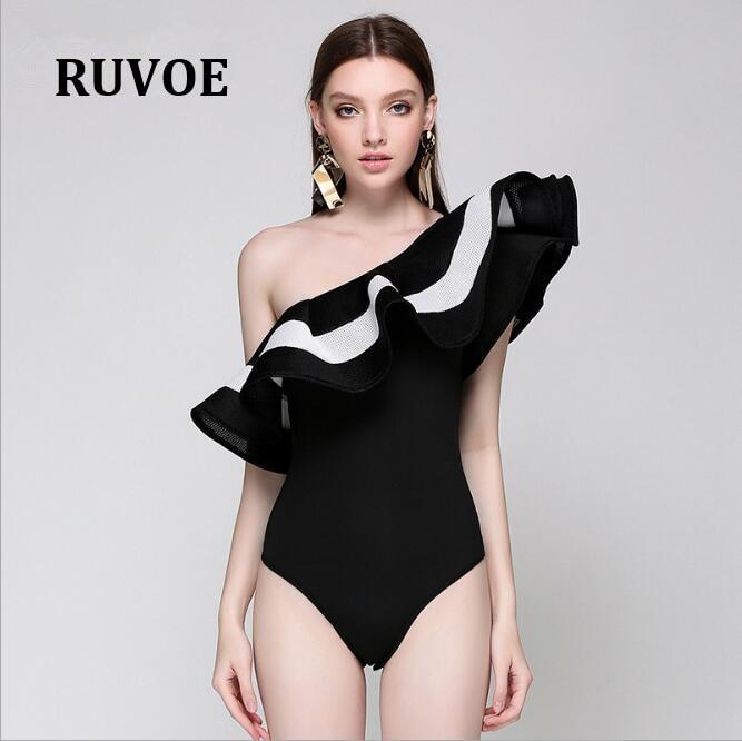 Ruffles Solid Black Whitr One Shoulder Summer jumpsuit romper bodysuit women sexy bodysuit female overalls playsuit coveralls