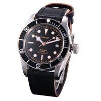 41 мм Corgeut черный циферблат черный ободок сапфир Стекло Miyota механизм автоматического мужские часы