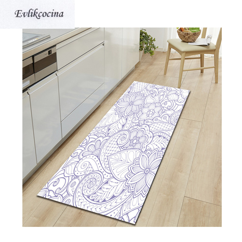 Free Shipping Blue Line Flowers Tapis Salon Absorbent Bath Mat