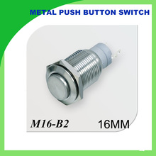 metal 16mm momentary push button switch high head 1NO+1NC push button switch