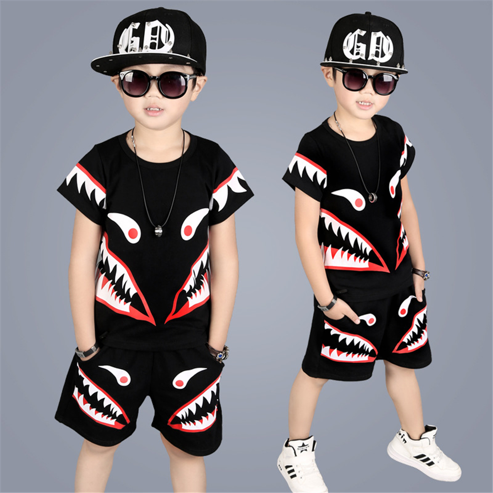 цены на Children Clothing Sets Summer 2017 Boys Cartoon Sports Suits Kids Sets T-shirt + Pants 2Pcs Boys Clothes Boy Streetwear Costume в интернет-магазинах