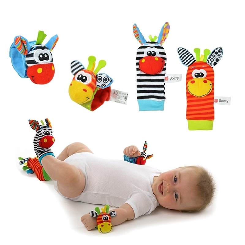 Cute Cartoon Baby Rattles Newborn Rattles Toys 0-12Month Baby Toys Plush Soft Hand Bell Wrist Rattles Baby Foot Socks Multicolor