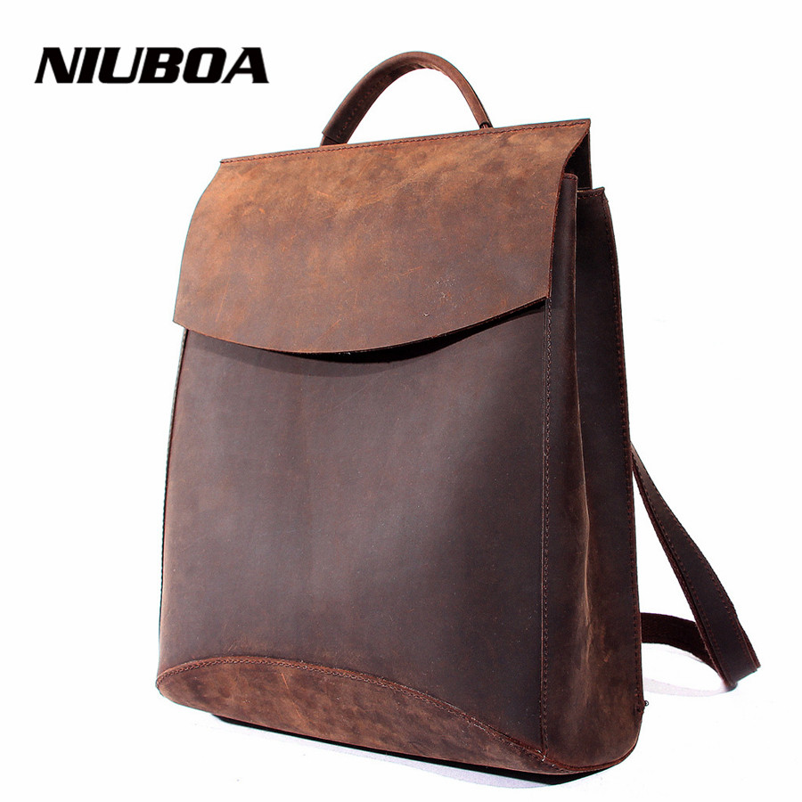 NIUBOA 100 Real Genuine Leather font b Women b font font b Backpack b font Crazy