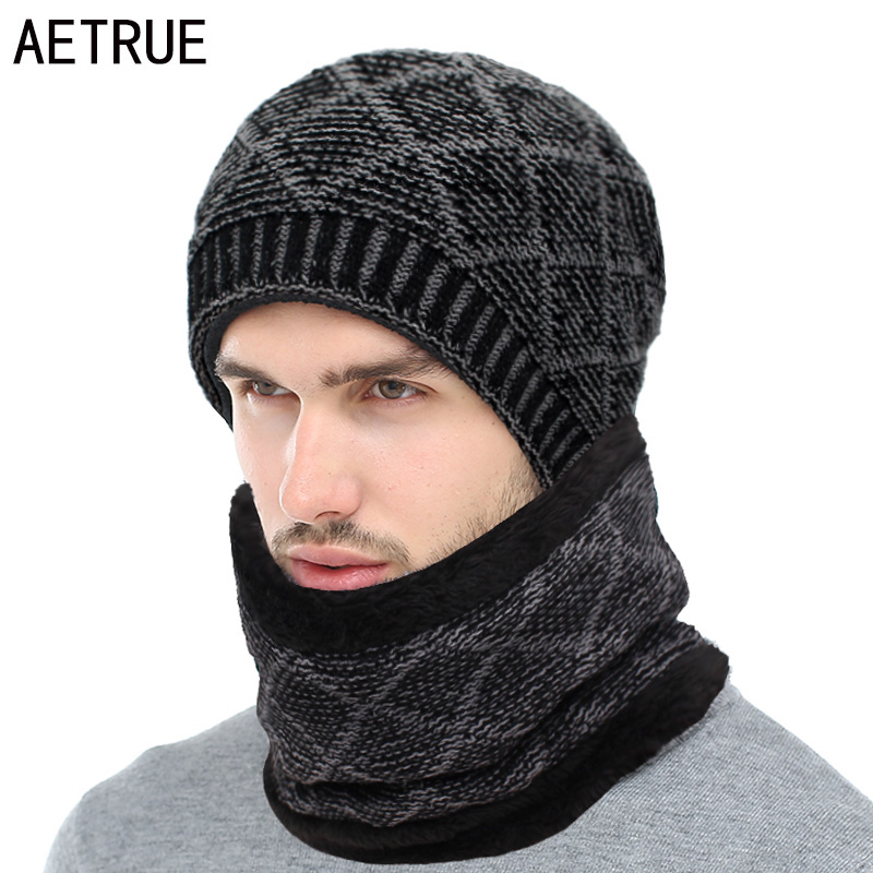 AETRUE Winter Skullies Beanies Men Scarf Knitted Hat Caps Male Mask Gorras Bonnet Warm Winter Hats For Men Women Beanies Hats
