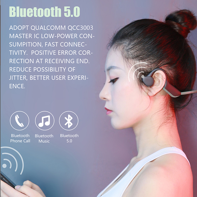 Bluetooth 5.0  Wireless Headphones Bone Conduction Earphone Outdoor Sport Headset with Microphone Handsfree Headsets