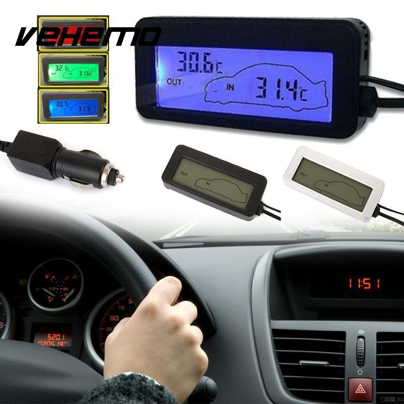 Vehemo Mini Digital Lcd Car Thermometer Voltmeter Auto Indoor Outdoor Temperature Meter Gauge