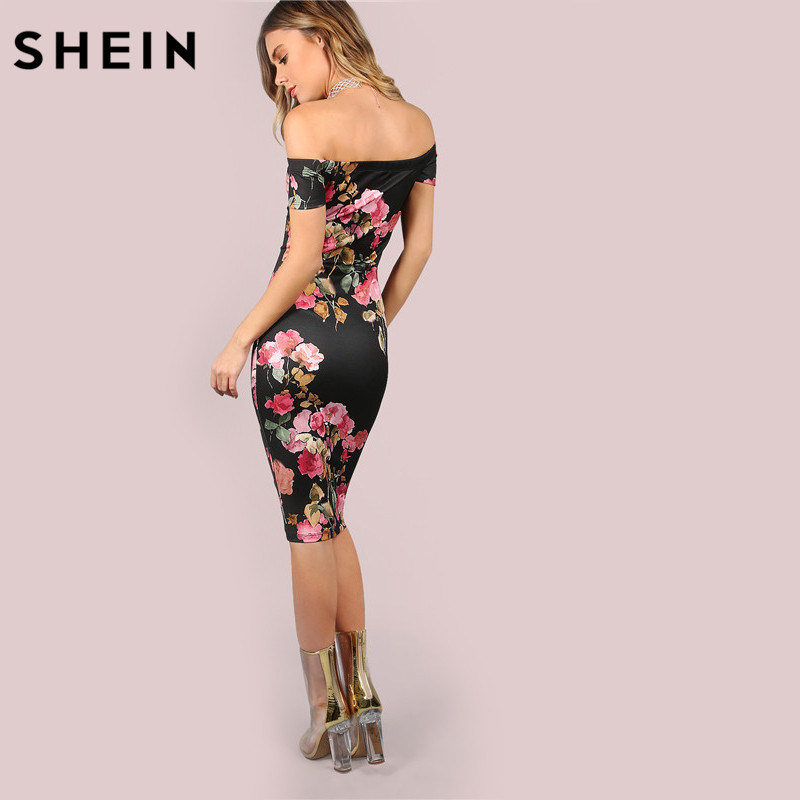 2472dce8dc04 SHEIN Sexy Party Dresses Bodycon Off Shoulder Dress Black Bardot Neckline  Floral Bodycon Knee Length Elegant Dress-in Dresses from Women's Clothing  ...