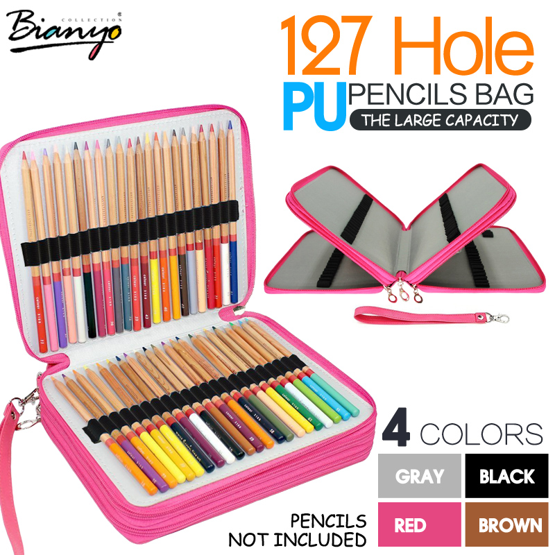 Bianyo 127 Holders 4 Layer PU Leather Pencil Case Travel Portable Colored Pencil Holder Pen Bag Pouch for Artist Students dainayw 127 holders large capacity school pencil case pu leather portable colored pencil holder pen bag for artist students