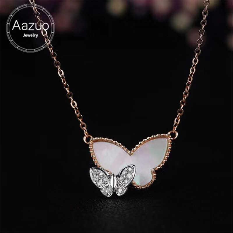 Aazuo 18 K Rose Gold Au750 Viên Kim Cương Thật 0.031ct H Sl1 Natrual Shell Bướm Pendent Necklace Cho Phụ Nữ Engagement Wedding