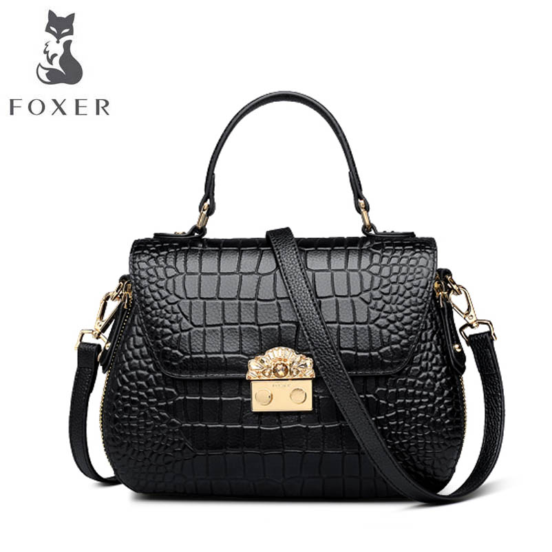 FOXER brand female bag Leather handbag First layer cowhide crocodile crossbody bag 2018 new shoulder bag foxer shoulder
