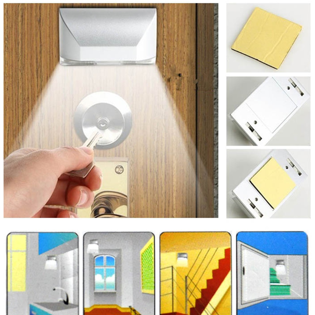 1Pcs Wireless Auto Infrared Sensor Motion Detector Keyhole 4 LED Light lamp Night Lights Motion Light Ambient Light Sensor