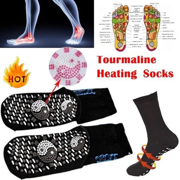 1 paire Magn tique auto chauffant chaussettes fissur pieds anti gel de pied chaud chaussettes chauffantes