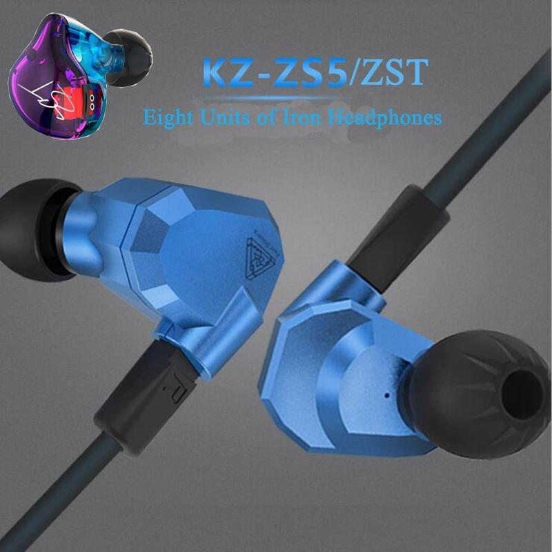 KZ ZS5/ZST, 2DD+2BA Hybrid In Ear Earphone, HIFI DJ Monitor Running Sport Noise Cancel Earphone Earplug, Headset Earbud Newest juyang scale waveii metal spoon fishing lure gold silver 5g 10g 15g 20g