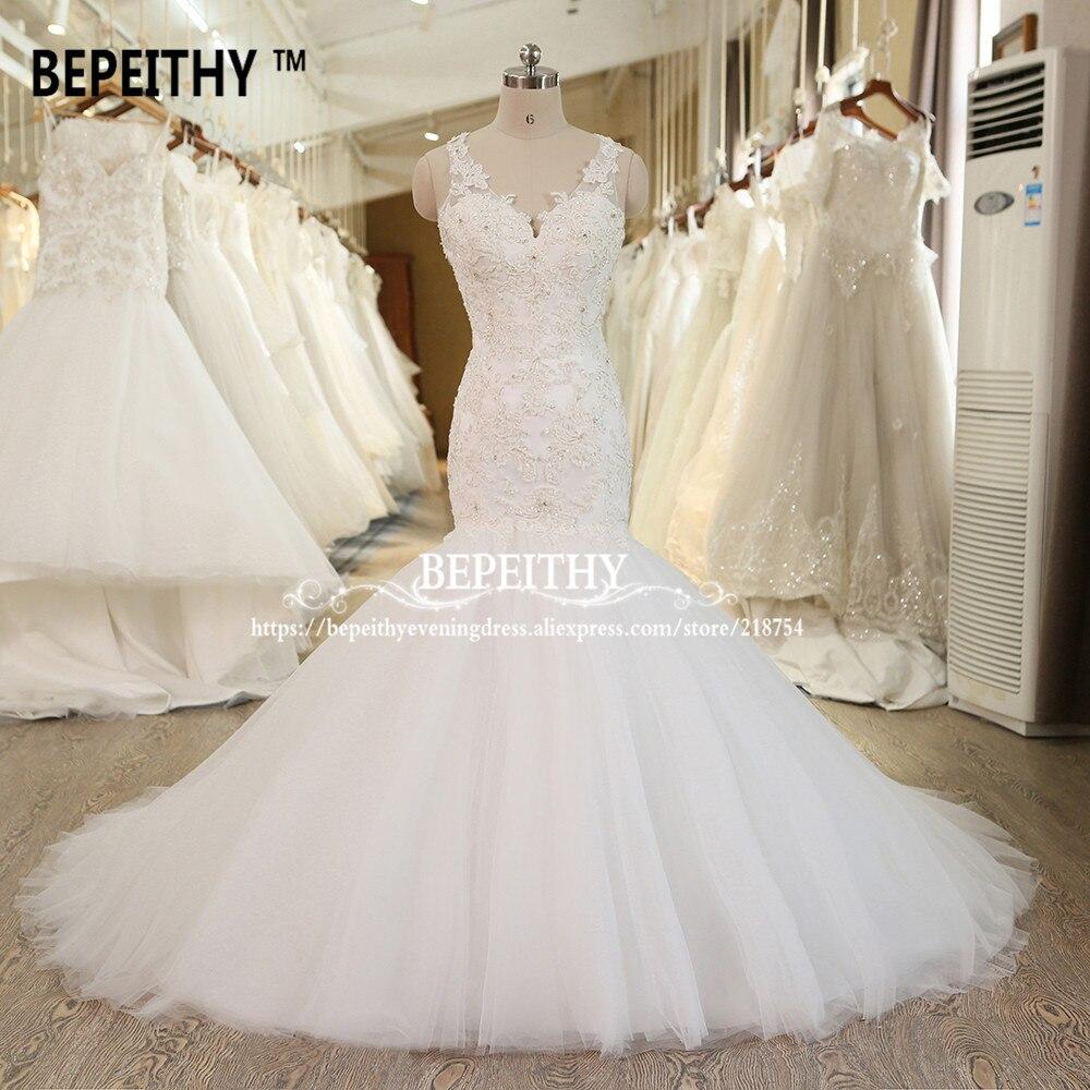 2019 bepeithy sereia vestido de casamento com decote em v rendas beadings casamento vestidos de noiva com zíper voltar vestido de novia foto real