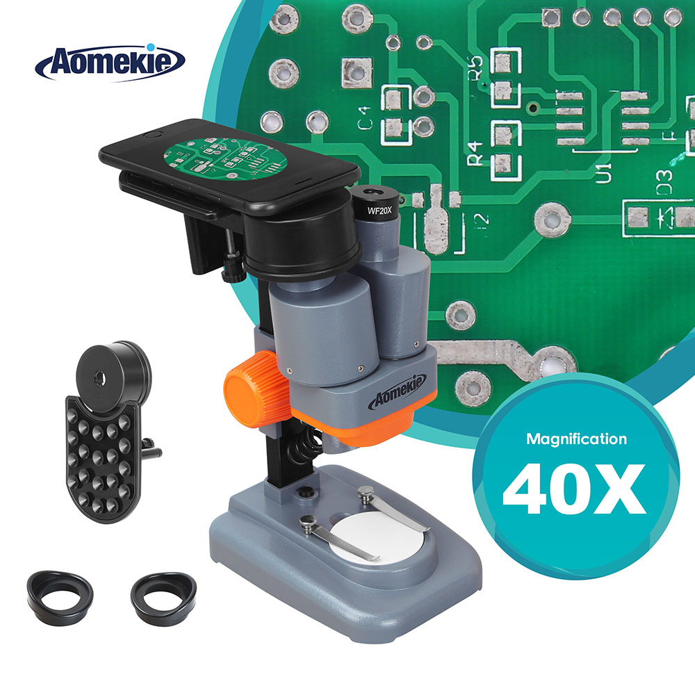 AOMEKIE 40X Stereo Microscope with Phone Holder Led Light PCB Solder Mineral Specimen Silde Watching Phone Pepair Tool HD VisionAOMEKIE 40X Stereo Microscope with Phone Holder Led Light PCB Solder Mineral Specimen Silde Watching Phone Pepair Tool HD Vision