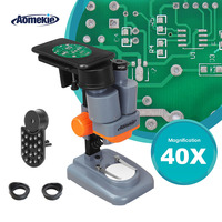 AOMEKIE 40X Stereo Microscope with Phone Holder Led Light PCB Solder Mineral Specimen Silde Watching Phone Pepair Tool HD Vision