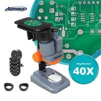 AOMEKIE 40X microscopio estéreo con soporte para teléfono luz Led PCB soldadura Mineral espécimen Silde ver teléfono Pepair herramienta HD Vision