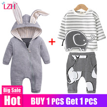 Newborn Baby Boys Clothes Sets 2020 Autumn Winter Baby Girls Clothes Outfit Sets Kids Infant Clothing For Baby Overalls 0-2 Year cheap Polyester COTTON Casual O-Neck Pullover Full REGULAR Fits true to size take your normal size Worsted Coat cotton+polyester