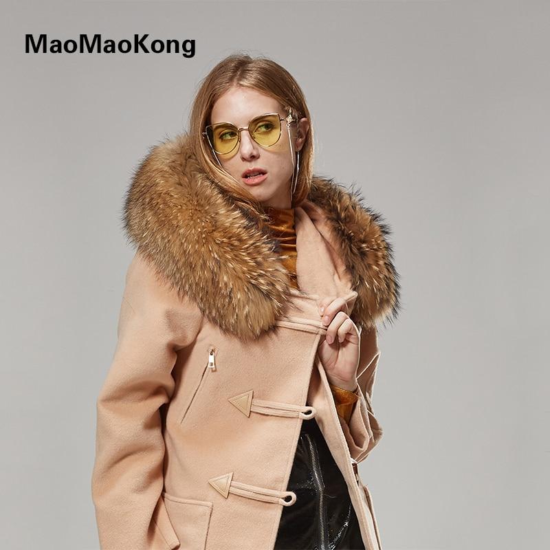 MaoMaoKong Real Raccoon Fur Collar park autumn winter coat women Button Wool Woolen Thicken coat with natural real fur
