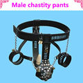 black leather chastity pants, cock cage anal strapon for men, male chastity device, fetish bondageanal, leatherbdsm men sex