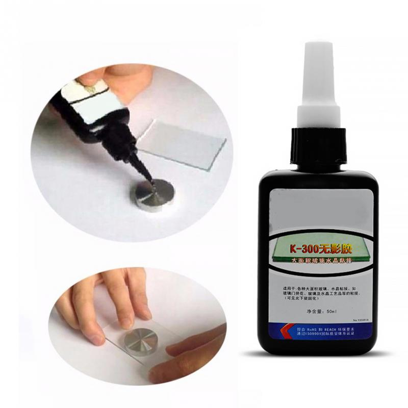 50ML/Bottle Multifunction K-300 UV Glue Curing Laser Adhesive Large Area Glass Bonding Glue Glass Crystal Crafts Shadowless Glue