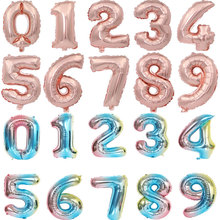 16 32 Inch Number Balloons Foil Ballon Rose Gold Silver Rainbow Digit Globos Wedding Birthday Party Decor Baby Shower Supplies