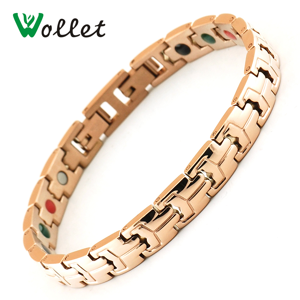 Wollet Jewelry Fashion Women Rose Gold Color Bracelet Health Care Energy Bio Magnetic Germanium Tourmaline Ion Infrared Bracelet