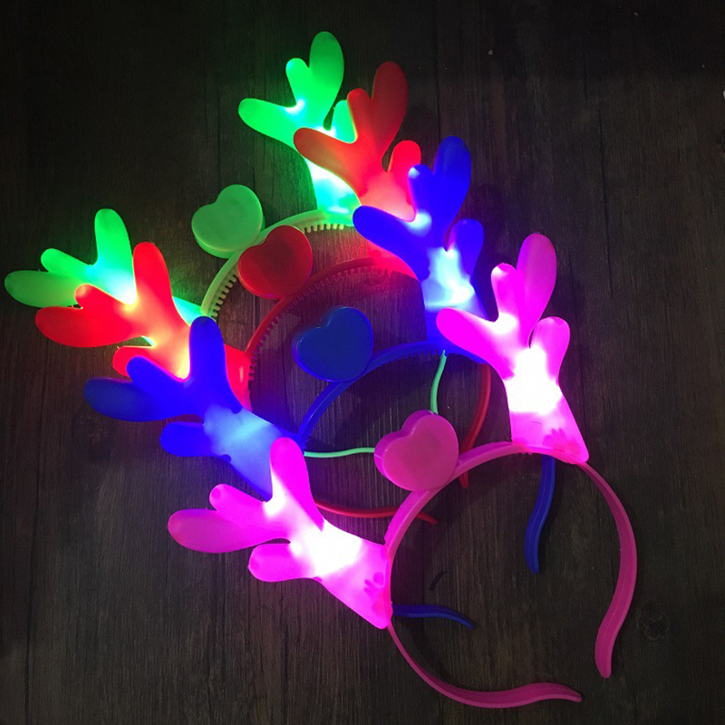 4Pcs/Set LED Luminous Antlers Headwear Hair Band Toys Halloween Glow In The Dark Light Up Toys For Children Sticks Luminous