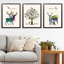 Animals Deer Pictures Home Art Print, Nordic Canvas Wall Picture Print Poster For Decor